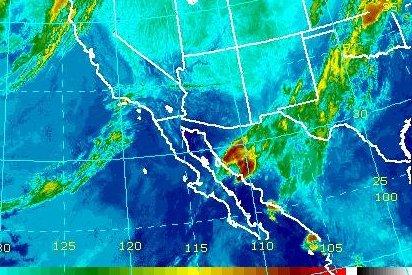 The National Hurricane Center downgraded Hurricane Lorena to a depression Sunday as it moved toward northwestern Mexico and south of Arizona. Photo courtesy NOAA