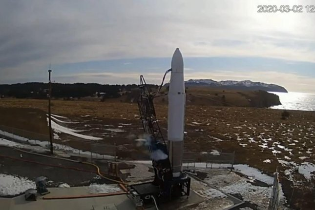 Astra's rocket stands Monday on a launch pad at Kodiak Island, Alaska. Photo courtesy of DARPA