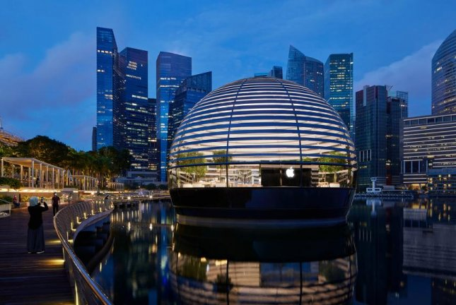 Apple says the floating glass sphere in Singapore's Marina Bay is its most ambitious retail project to date. Photo courtesy Apple