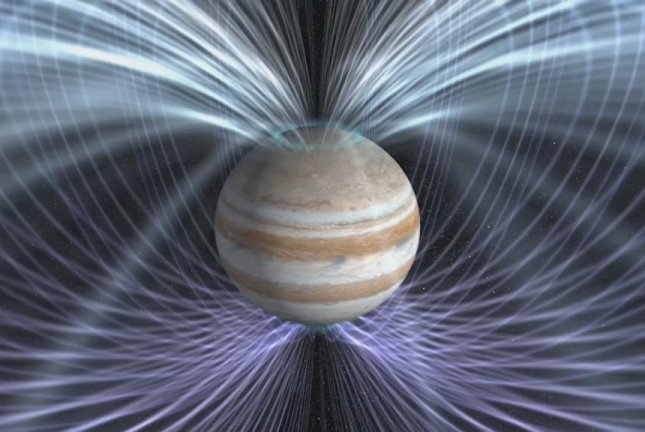 Juno's instruments made their first direct measurements of Jupiter's magnetosphere on July 1, 2016, as the probe passed from interplanetary space into the gas giant's magnetic field. Photo by NASA Goddard Space Flight Center