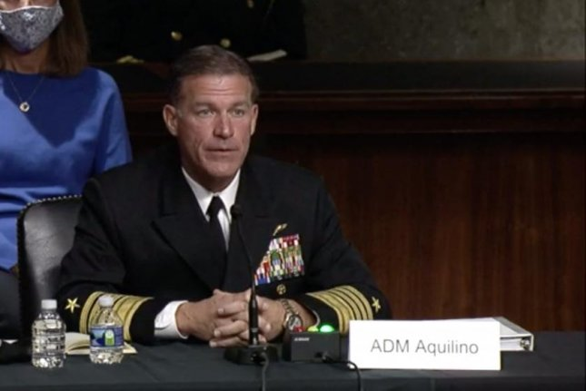Navy Adm. John Aquilino testifies before the Senate Armed Services Committee Tuesday. Image courtesy SASC