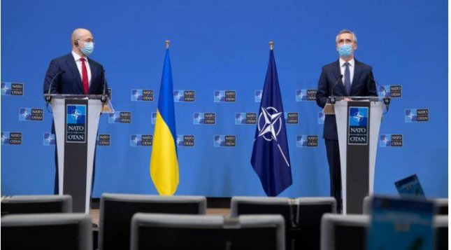 NATO Secretary-General Jens Stoltenberg, R, reiterated support for Ukraine on Tuesday after meeting with Ukrainian Prime Minister Denys Shmyhal. Photo courtesy of NATO
