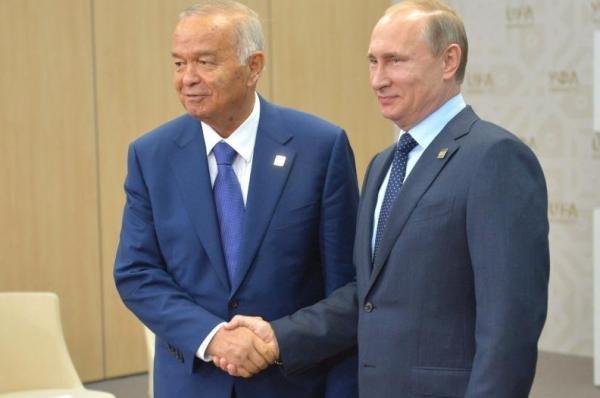 Uzbekistan President Islam Karimov (L) with Russian President Vladimir Putin on July 10, 2015. Photo courtesy the Russian government