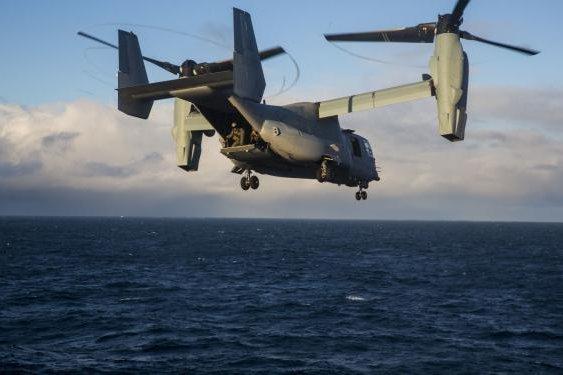 In preparation for delivery of the first CMV-22Bs in 2020, VRM 30 will start training with the Marine Corps' version of the aircraft, the MV-22 Osprey, pictured. Photo by Lance Cpl. Margaret Gale/24th Marine Expeditionary Unit/U.S. Marine Corps