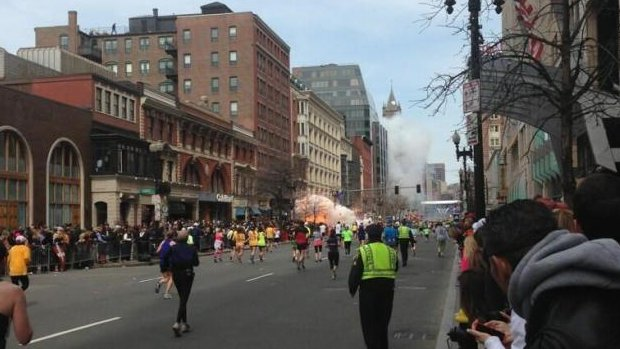 The aftermath of the Boston Marathon finish line explosions. (Courtesy: Dan Lampariello/Twitter)