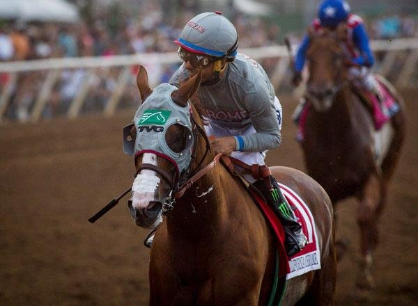 Victor Espinoza steers California Chrome to a dominating victory in Saturday's $1 million Pacific Classic at Del Mar. Photo by Zoe Metz/Del Mar Turf Club