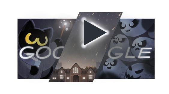 Google's Halloween 2016 Doodle features an interactive game where players help Momo the cat cast spells to save the Magic Cat Academy from an onslaught of ghostly foes. Screenshot from Google