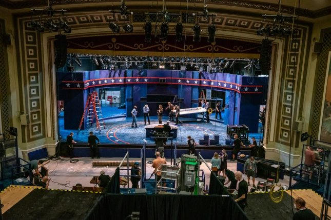Preparations take place at Kingsbury Hall on the University of Utah campus in Salt Lake City for Wednesday night's vice presidential debate between Vice President Mike Pence and Democratic vice presidential nominee Sen. Kamala Harris. Photo courtesy University of Utah