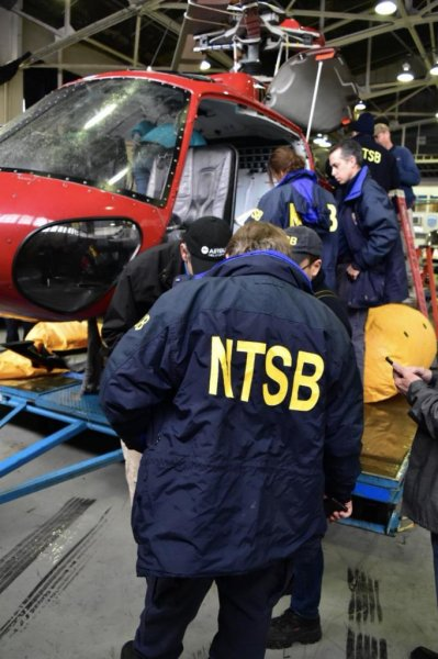The pilot of a helicopter that crashed into the East River earlier this month said he twice instructed the passengers how to cut off their harnesses in the event of a crash. Photo courtesy of the NTSB