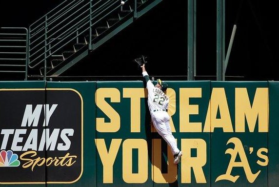 Oakland A's outfielder Ramón Laureano made an incredible catch in center field and it turned into one of the most memorable double plays in all of baseball in 2019. Photo courtesy of Twitter/A'sonNBCS