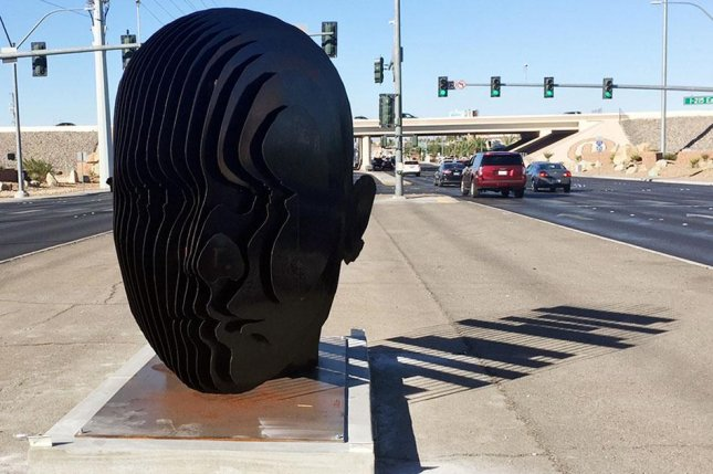 A photo of the 4,000-pound artwork on the median of Eastern Avenue near the 215 beltway in Las Vegas is shown before the wreck over the weekend. Photo courtesy of Clark County Nevada