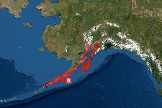 A tsunami warning had been issued for Alaska, but was later canceled. Image courtesy of NOAA