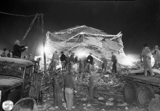 Rescue workers using torch lights to help search for victims and bodies in debris at a school in New London, Texas on March 18, 1935. Photo courtesy UTA Libraries, Special Collections