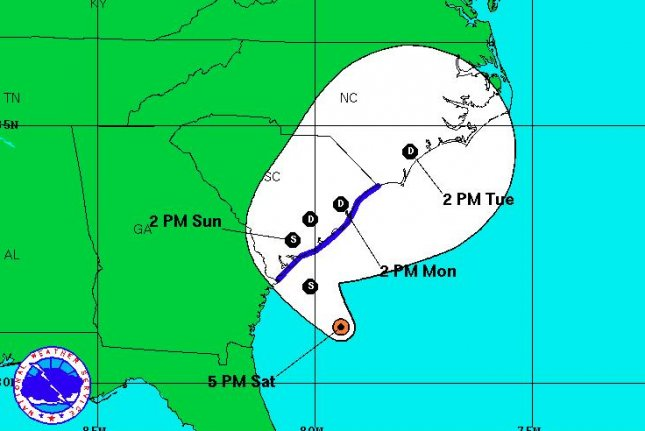 Tropical Storm Bonnie has formed in the Atlantic Ocean and is forecast to make landfall in South Carolina late Saturday or early Sunday. This map from the National Oceanic and Atmospheric Administration shows the storm's possible path over the next three days. Map courtesy NOAA