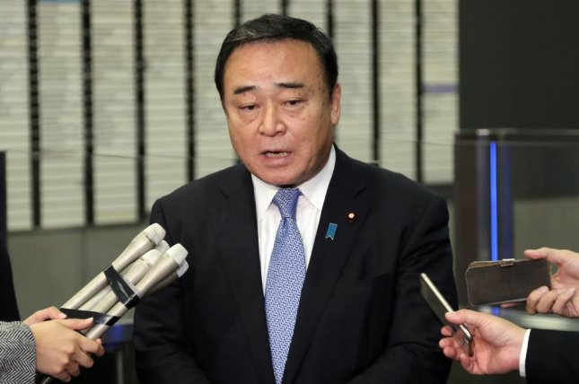Japan's Minister of Economy, Trade and Industry Hiroshi Kajiyama said Friday dialogue on trade with South Korea could improve relations. File Photo by Yonhap/EPA-EFE