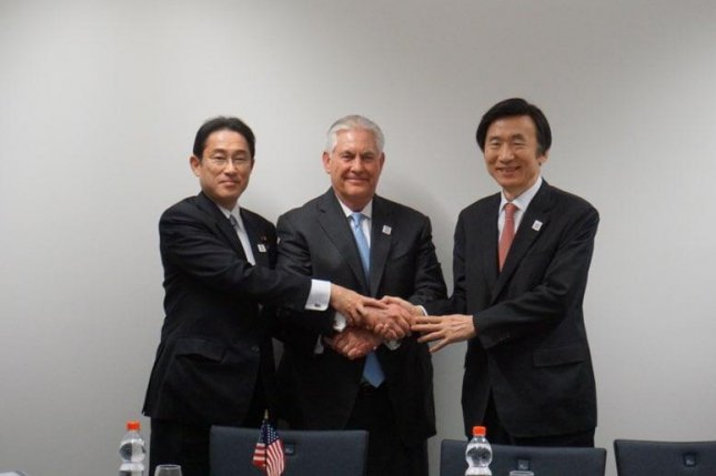 U.S. State Secretary Rex Tillerson (C) met for the first time with Japanese Foreign Minister Fumio Kishida (L) and South Korean Foreign Minister Yun Byung-se (R) on the sidelines of the Group of 20 foreign ministers' meeting. Photo courtesy of Republic of Korea Ministry of Foreign Affairs