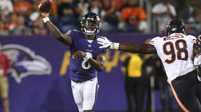 Baltimore Ravens quarterback Lamar Jackson throws a pass against the Chicago Bears in the Pro Football Hall of Fame game Thursday in Canton, Ohio. Photo courtesy of the Baltimore Ravens/Twitter