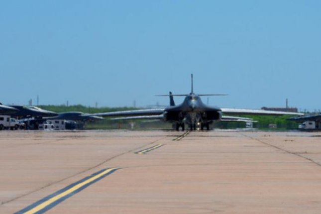 A B1-B Lancer bomber prepares to leave Dyess AFB, Texas, and travel to Andersen AFB, Guam, on April 30. Photo by Senior Airman Mercedes Porter/U.S. Air Force
