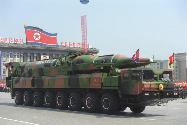A North Korean missile on display at a parade in Pyongyang. South Korea has collected debris from the North Korea rocket that was launched Saturday. File Photo by Yonhap