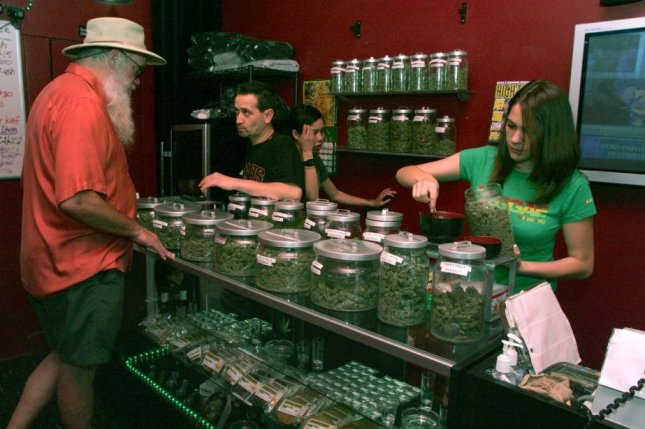 Some marijuana dispensaries, like this one in San Francisco, will be allowed to remain open as an essential business in spite of statewide lockdowns to combat the spread of COVID-19. File Photo by Terry Schmitt/UPI