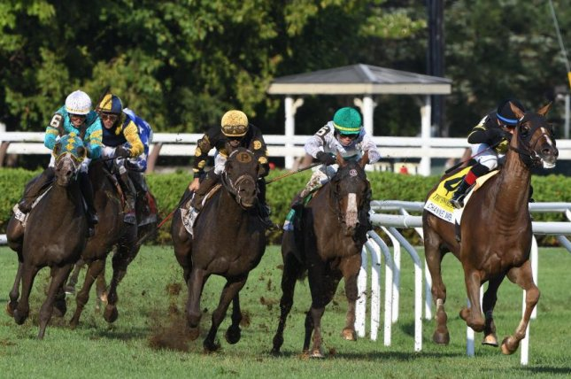 Channel Maker leads all the way en route to victory in Saturday's Grade I Sword Dancer at Saratoga. Photo by Dom Napolitano, courtesy of New York Racing Association