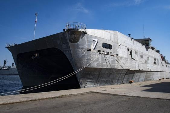 The Spearhead-class expeditionary fast transport ship USNS Carson City pier side in Constanta, Romania, Aug. 27, 2018. Photo by Mass Communication Specialist 1st Class Kyle Steckler/U.S. Navy