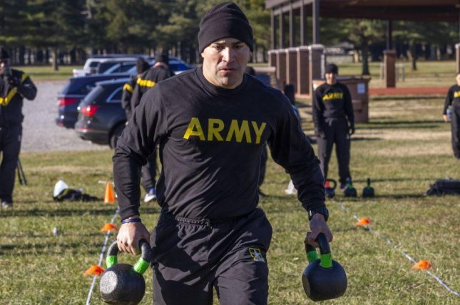 Sgt. Danny Gonzalez of the New Jersey Army National Guard participators in the Army Combat Fitness Test, which, starting in April, will offer different scoring tiers for male and female soldiers. Photo by Mark Olsen/National Guard