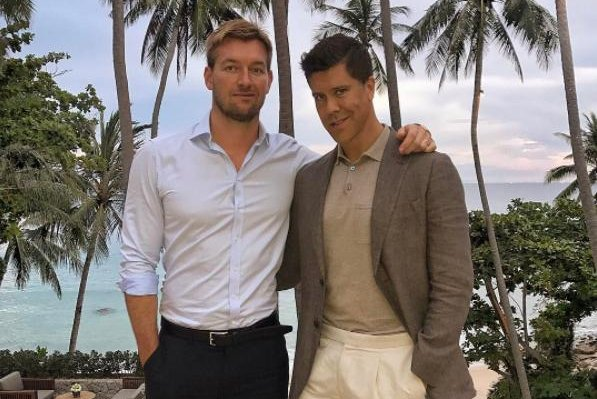 Fredrik Eklund (R) and husband Derek Kaplan on March 27. The couple are expecting a son and daughter. Photo by Fredrik Eklund/Instagram