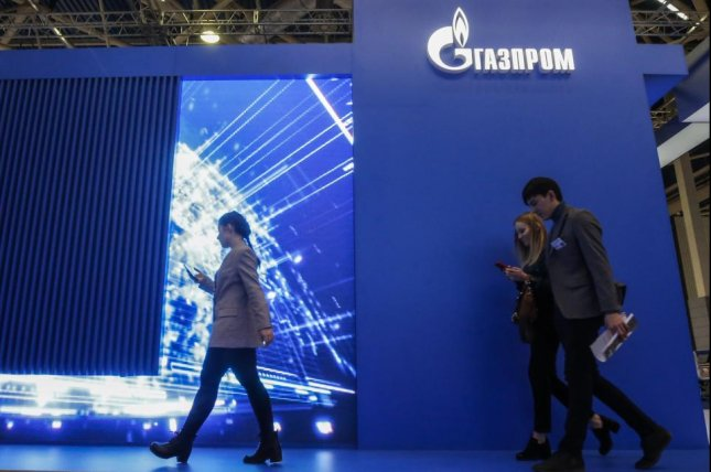 The logo of Russian gas company Gazprom is seen during an exhibition last month in Moscow, Russia. File Photo by Sergei Ilnitsky/EPA-EFE