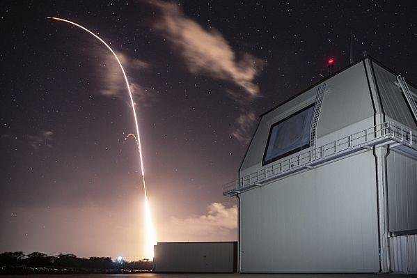 A standard missile 3 Block IIA is launched from the Aegis Ashore Missile Defense Test Complex at the Pacific Missile Range Facility at Kauai, Hawaii on December 10, 2018, to successfully intercept an intermediate-range ballistic missile target in space. Photo courtesy of the U.S. Army