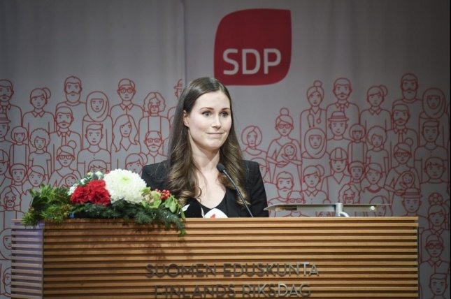 Finland's Social Democratic Party chose Sanna Marin Sunday as its prime minister candidate, putting her in the position of becoming the world's youngest prime minister at 34 if approved by Parliament. Photo by Kimmo Brandt/EPA-EFE