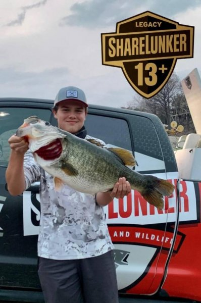 Trace Jansen, 15, reeled in a 15.32-pound largemouth bass while fishing in Lake Travis, near Austin, Texas. Photo courtesy of the Texas Parks and Wildlife Department