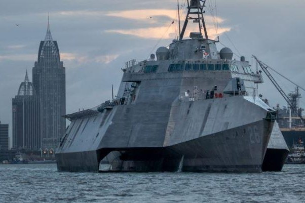 The future USS Mobile, the Navy's 13th Independence-class littoral combat ship, will be commissioned on May 27, 2021. Photo courtesy of Austal USA