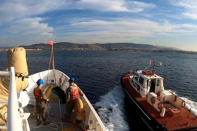 USCGC Charles Moulthrope arrives in Athens, Greece Monday. Photo courtesy of U.S. Navy