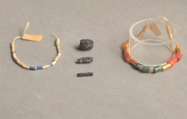 Ancient Egyptian iron beads held in a British museum were hammered from pieces of meteorites, rather than iron ore. Credit: UCL Petrie Museum/Rob Eagle