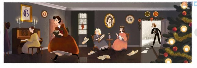 Google celebrates author, suffragist, abolitionist, and feminist Louisa May Alcott on what would have been her 184th birthday. Photo courtesy of Google.com