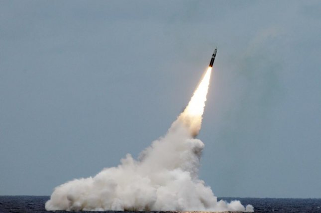 An unarmed Trident II D5 missile launches from the Ohio-class fleet ballistic-missile submarine USS Maryland off the coast of Florida. Photo by John Kowalski/U.S. Navy