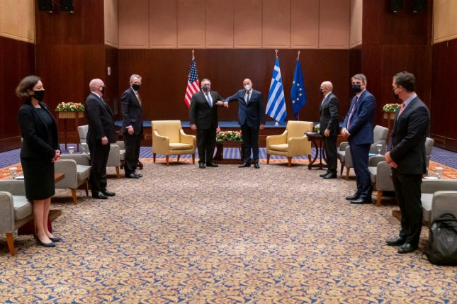 U.S. Secretary of State Mike Pompeo meets Monday with Greek Foreign Minister Nikos Dendias during a meeting in Athens, Greece. Photo courtesy Mike Pompeo/Dept. of State/Twitter