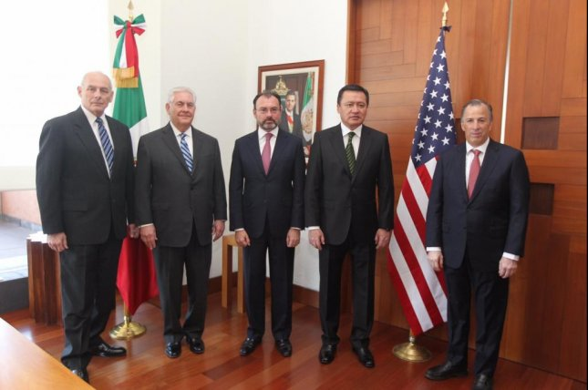 From left, U.S. Secretary of Homeland Security John Kelly, U.S. Secretary of State Rex Tillerson, Mexican Foreign Minister Luis Videgaray, Mexican Secretary of the Interior Miguel Ángel Osorio Chong and Mexican Secretary of Finance José Antonio Meade held a bilateral meeting on Thursday. During a press conference, Videgaray expressed the concern and irritation Mexicans have over U.S. President Donald Trump's immigration policies that could be harmful. Photo courtesy of Mexican Secretariat of Foreign Affairs