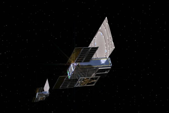 An artist's rendering shows the twin Mars Cube One spacecraft en route to Mars. Photo by NASA/JPL-Caltech