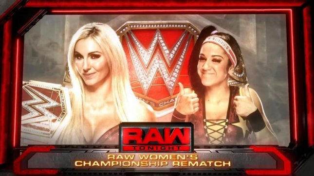 Charlotte Flair defended her Raw Women's Championship against Bayley Monday on Raw. Photo courtesy of WWE/Twitter