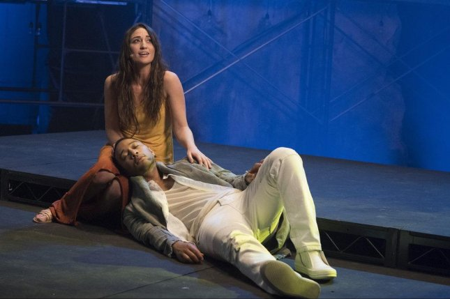 Sara Bareilles (L) and John Legend will be seen starring in Jesus Christ Superstar on NBC Sunday. Photo by Virginia Sherwood/NBC