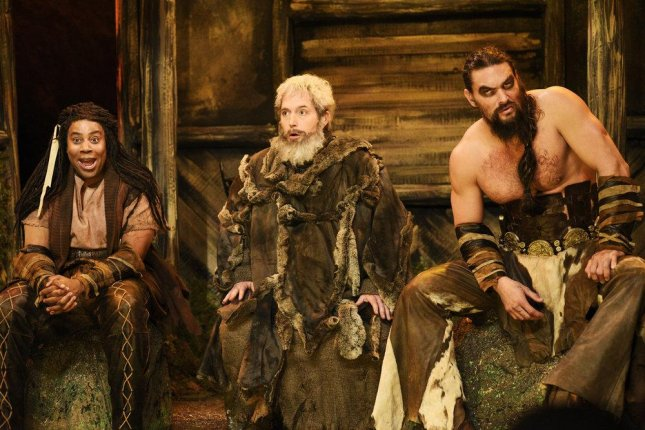 Kenan Thompson (L-R) appears as Zerbo, Beck Bennett as Hodor and Jason Momoa as Khal Drogo during the Saturday Night Live sketch Khal Drogo's Ghost Dojo this weekend. Photo by Will Heath/NBC