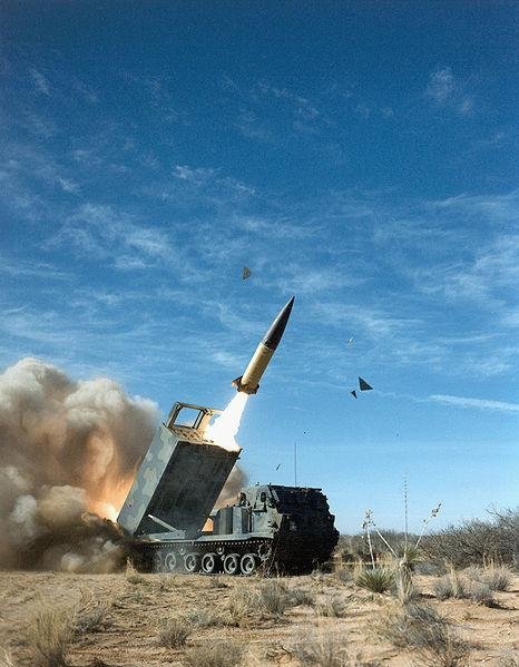 A U.S. Army tactical missile is fired from a launch vehicle. U.S. Army photo
