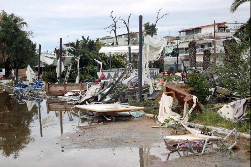 Strewn debris is seen after heavy storms hit Nea Plagia, Chalkidiki, northern Greece on Wednesday night. Photo by Ververidis Vassilis/EPA-EFE