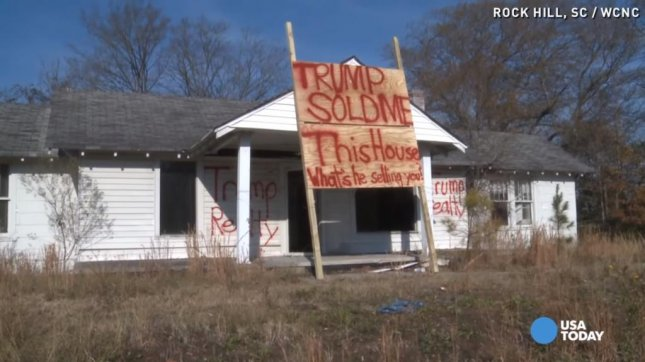 A Rock Hill, S.C., house has become a canvas for a message protesting the presidential campaign of Donald Trump. USA Today/YouTube video screenshot