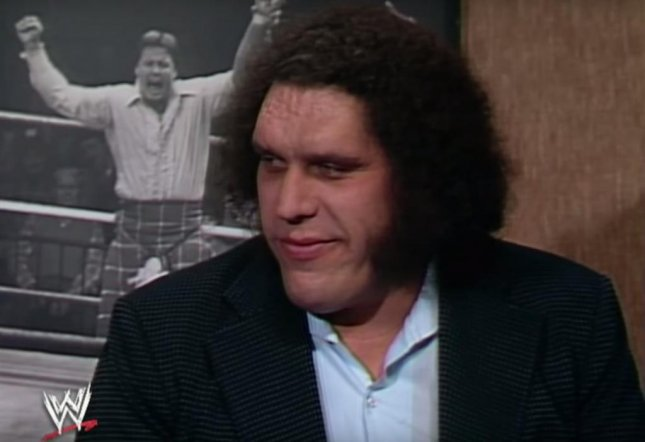 Andre the Giant during one of his many memorable moments during his time with WWE talking with Rowdy Roddy Piper on Piper's Pit. A biopic centering around the life and times of Andre is in development. Photo courtesy of WWE/Youtube