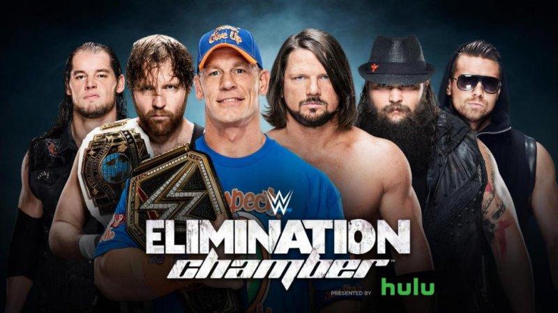 John Cena defended his newly won WWE Championship Sunday inside the Elimination Chamber against (L-R) Baron Corbin, Dean Ambrose, AJ Styles, Bray Wyatt and The Miz. Photo courtesy of WWE/Twitter