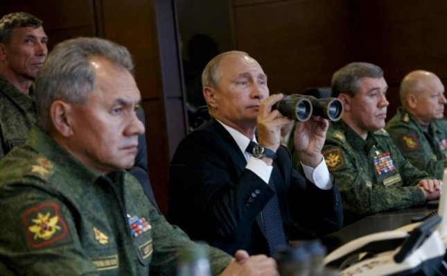 Russian President Vladimir Putin looks on as the Russian military conducts Zapad 2017 exercises Monday. Photo by Ministry of Defence of the Russian Federation/Facebook