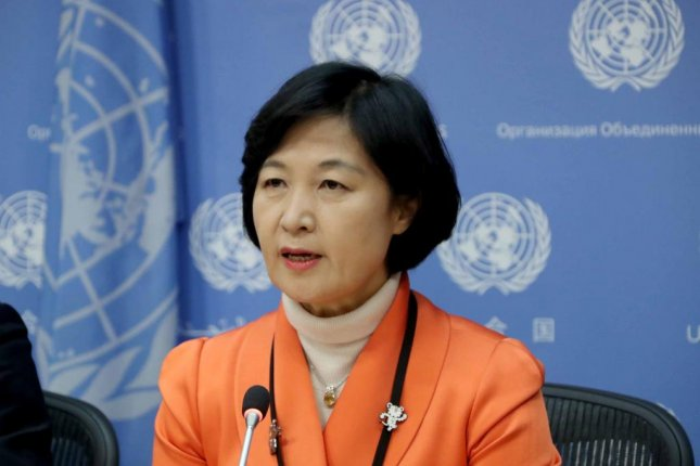Choo Mi-ae, leader of the ruling Democratic Party, speaks during a press conference at the headquarters of the United Nations in New York on Friday. Photo by Yonhap